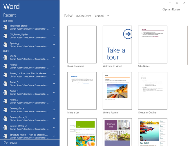 Aplicația UWP Microsoft Word
