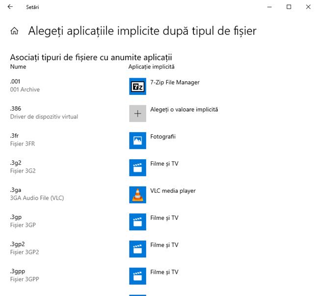 Alege aplicațiile implicite după tipul de fișier