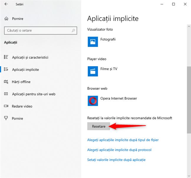 Resetează aplicațiile implicite din Windows 10