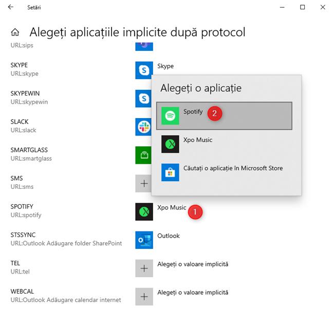 Alege aplicațiile implicite în funcție de protocol