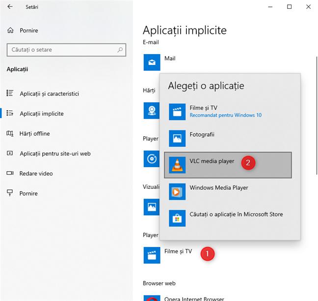 Setează aplicațiile implicite în Windows 10