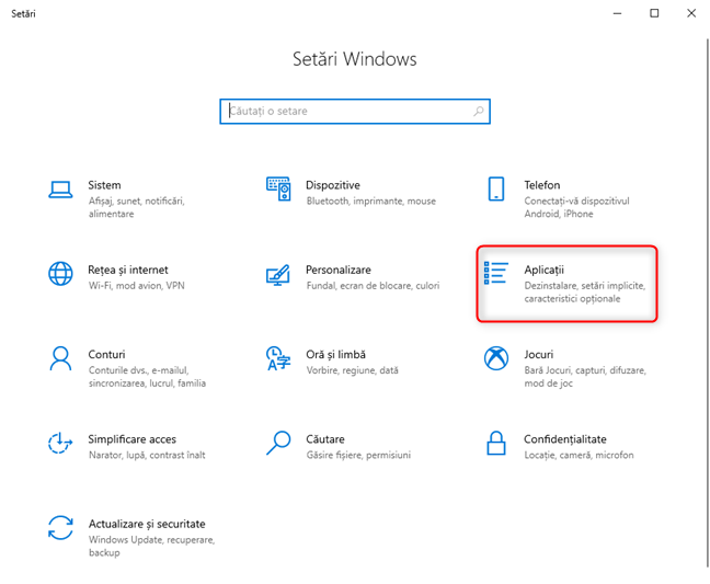 Setări Windows 10 - Mergi la aplicații