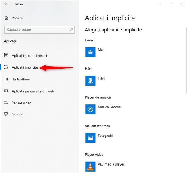 Setări Windows 10 - Accesează Aplicații implicite