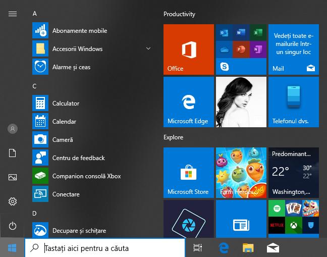 Meniul Start cu toate aplicațiile din Windows 10