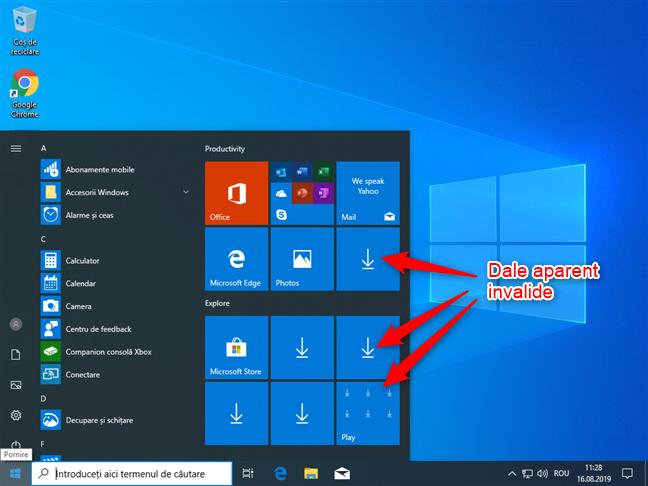 Aplicații Windows 10 care nu apar în Meniul Start