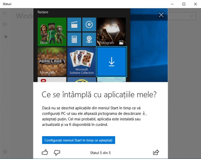 Aplicația Sfaturi din Windows 10 oferă o posibilă soluție