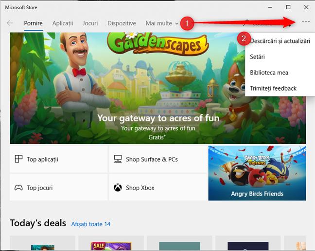 Accesează Descărcări și actualizări în Microsoft Store
