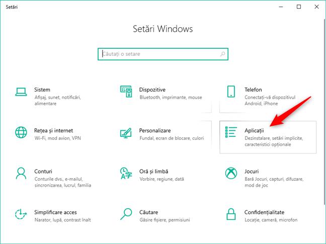 Categoria Aplicații din setările Windows 10