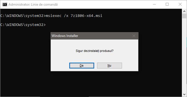 Dezinstalarea unui program folosind comanda msiexec cu un fișier MSI