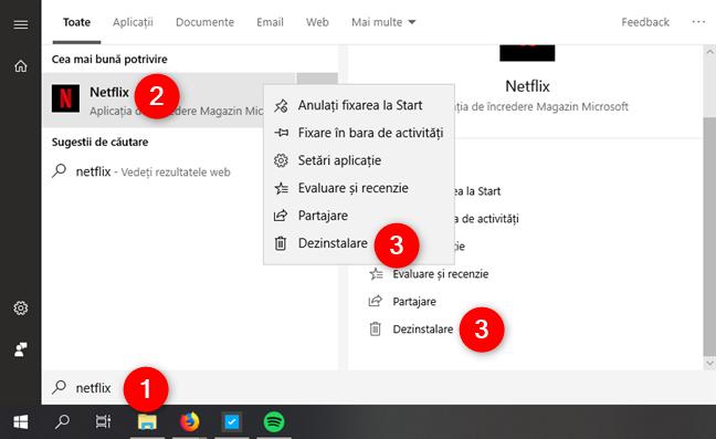 Dezinstalarea unei aplicații utilizând căutarea din Windows 10
