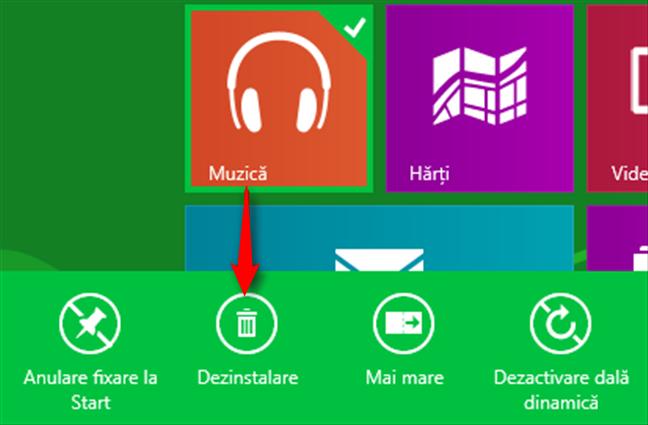 Dezinstalarea unei aplicații de pe ecranul Start din Windows 8.1
