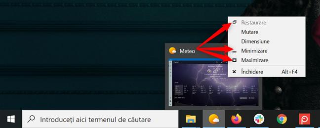 Dă clic dreapta pe o previzualizare pentru a deschide un meniu de unde poți să minimizezi, maximizezi și restaurezi fereastra aplicației
