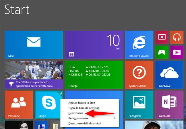 Dezinstalarea unei aplicații de pe ecranul Start din Windows 8.1, folosind un mouse