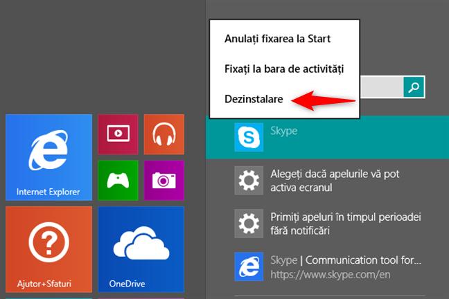Folosirea căutării pentru a găsi și dezinstala o aplicație din Windows 8.1