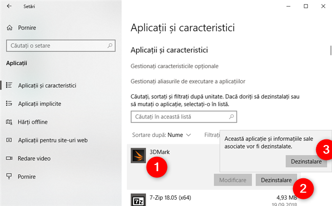 Dezinstalarea unei aplicații din Windows 10 folosind aplicația Setări