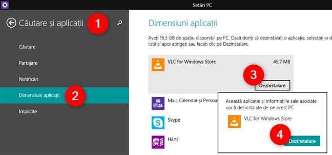 Dezinstalarea unei aplicații din Windows 8.1, utilizând ecranul Setări PC