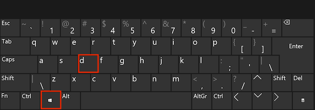 Apasă simultan tastele Windows și D pentru a minimiza toate ferestrele