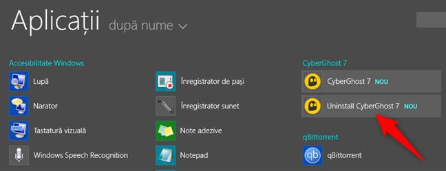 O comandă rapidă de dezinstalare, afișată pe ecranul Start din Windows 8.1