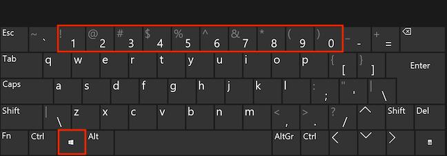 Ține apăsată tasta Windows și apasă numărul potrivit