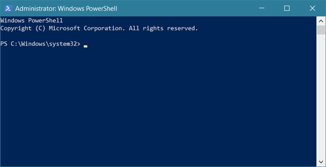 Fereastra PowerShell