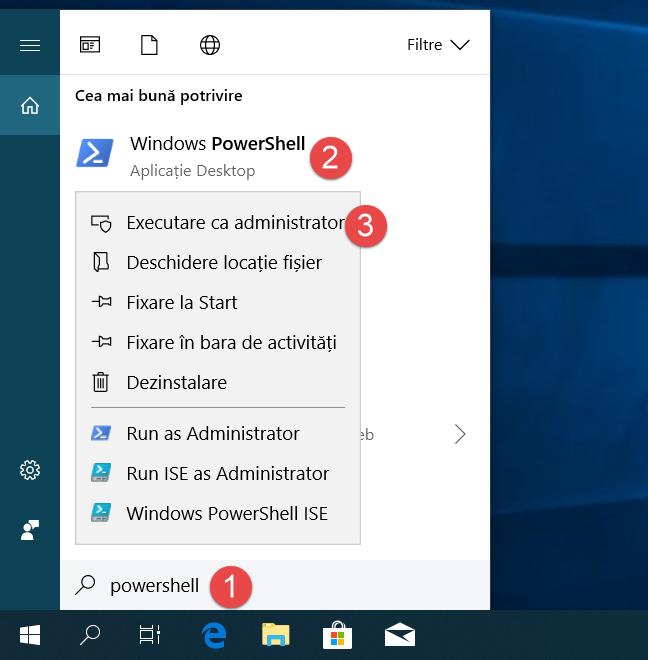 Deschide PowerShell ca administrator