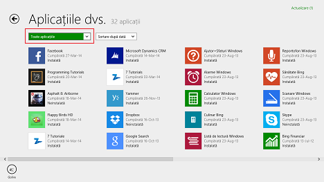 Windows 8.1, aplicatii, lista, Magazin, instalate, neinstalate