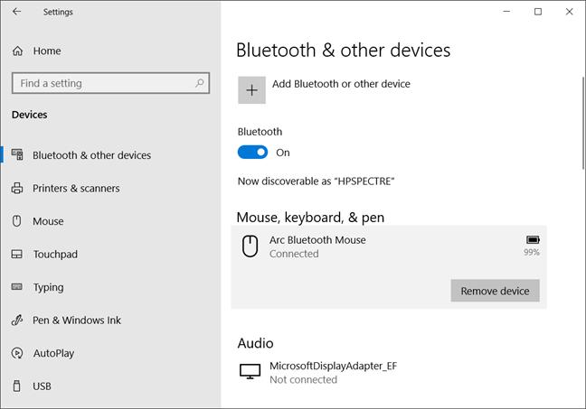 Conexiunile Bluetooth din Windows 10