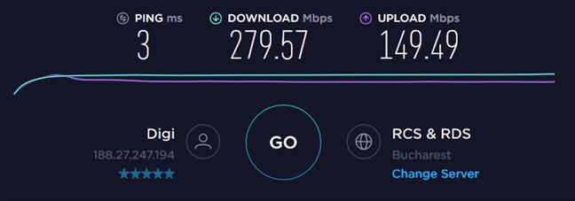 Rezultate în Speedtest cu laptopul de gaming