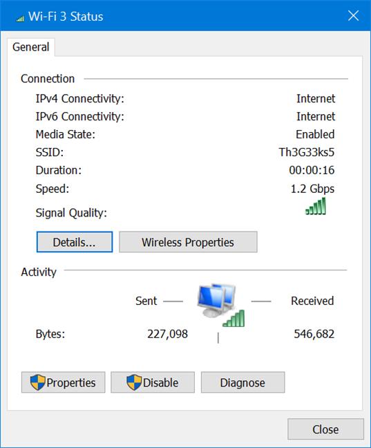 Conexiunea wireless oferită de TP-Link Archer TX3000E în Windows 10