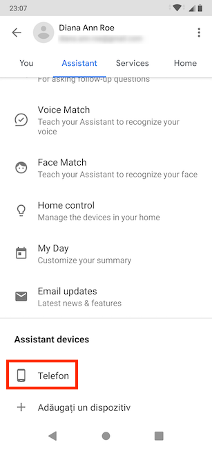 Accesează Telefon din Assistant devices
