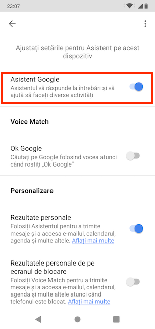 Apasă pe Asistent Google