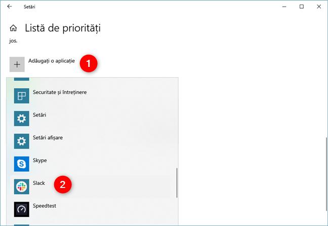 Adăugarea unei aplicații la Lista de priorități