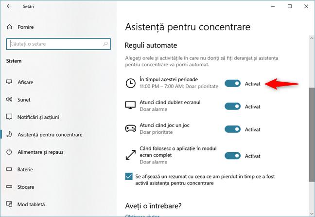 Opțiunea de a bloca notificările din Windows 10 în anumite intervale orare