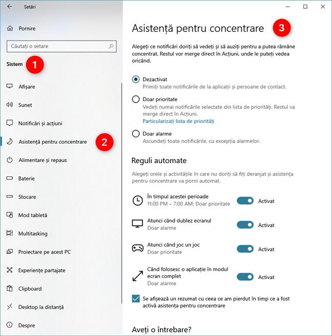 Pagina Asistență pentru concentrare din aplicația Setări
