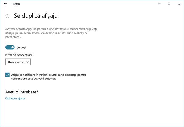 Opțiunea de a bloca notificările din Windows 10 când dublezi ecranul