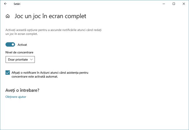 Alegerea de a stopa notificările din Windows 10 atunci când te joci jocuri