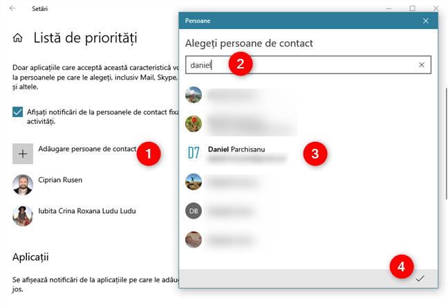 Adăugarea de contacte la Lista de priorități îți permite să primești notificări de la ele