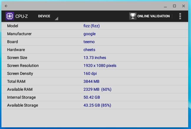 Detalii despre RAM, stocare și alt hardware din ASUS Chromebox 3