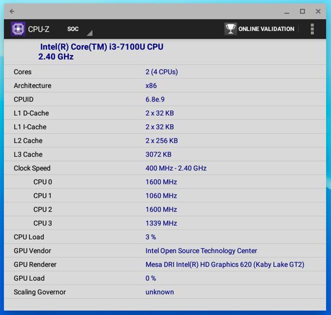 Detaliile procesorului din ASUS Chromebox 3