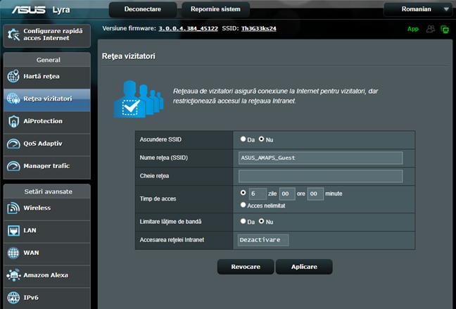 Firmware-ul ASUS - folosește o rețea WiFi pentru oaspeți