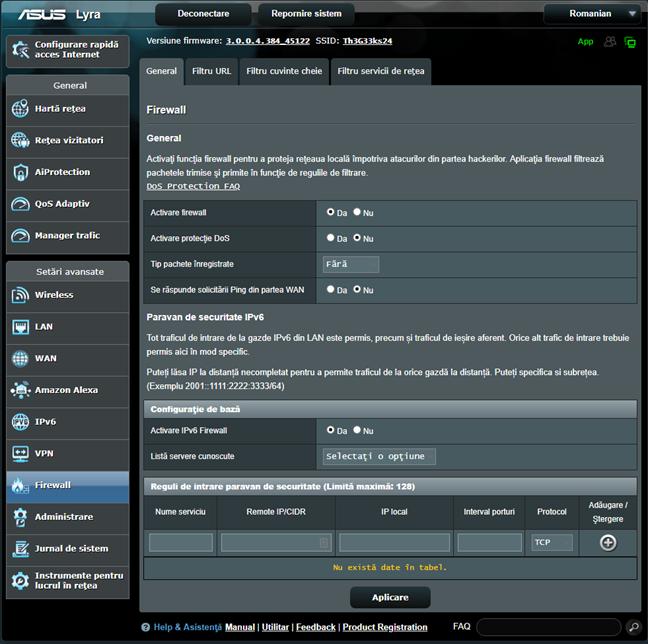Firmware-ul ASUS - pornește firewall-ul