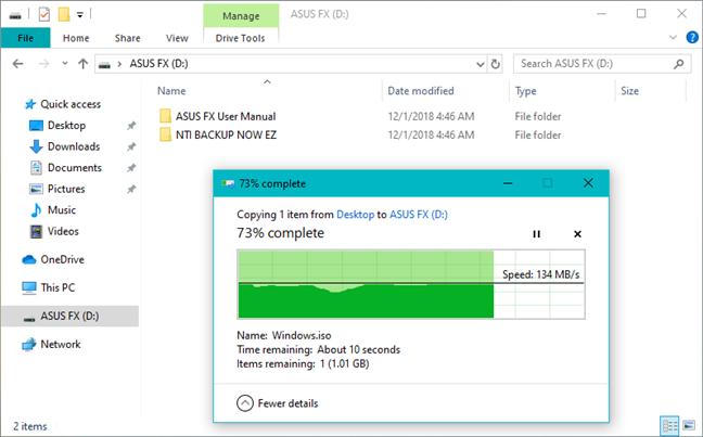 Copierea unui fișier mare din Windows 10 pe ASUS FX HDD