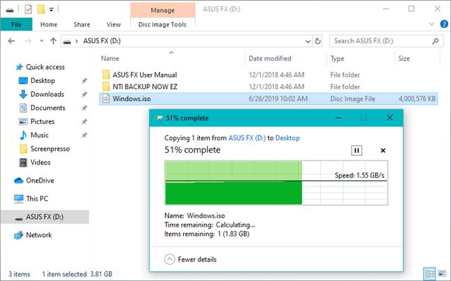Copierea unui fișier mare de pe ASUS FX HDD pe un Windows 10 PC
