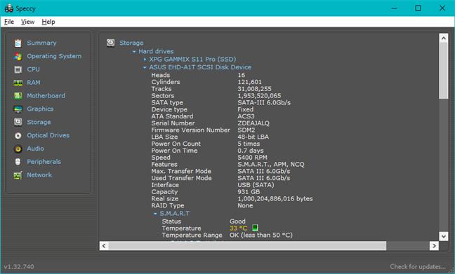 Detalii despre ASUS FX HDD