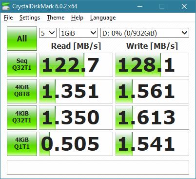 Rezultatele obținute de ASUS FX HDD în benchmark-ul CrystalDiskMark
