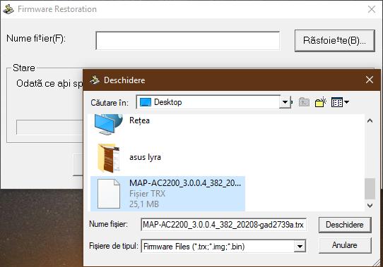 Alegerea firmware-ului care va fi scris pe ASUS Lyra