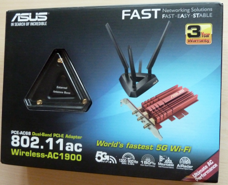 ASUS PCE-AC68, 802.11ac, Dual-band, Wireless-AC1900, PCI-E Adapter, recenzie, retea, wireless