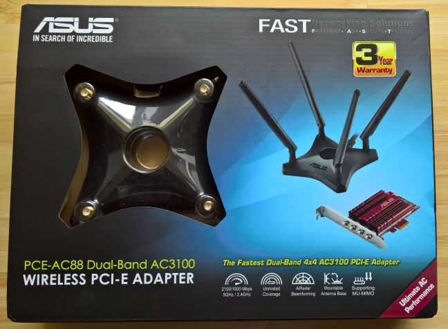 ASUS PCE-AC88, PCI-Express, placa, retea, wireless