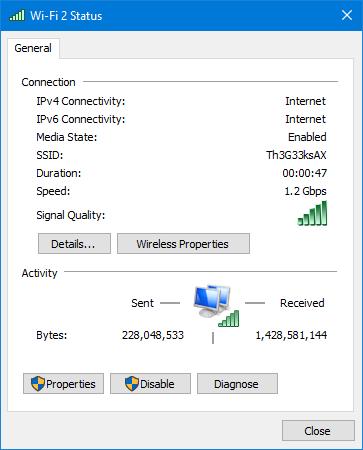 O conexiune Wi-Fi realizată cu ASUS PCE-AX58BT în Windows 10