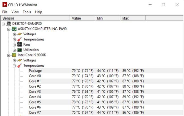 ASUS Mini PC ProArt PA90 - temperaturi la utilizare maximă